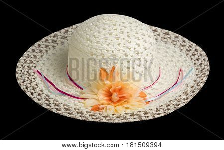 Woman  Hat Isolated On Black Background .women's Beach Hat . Colorful Ha