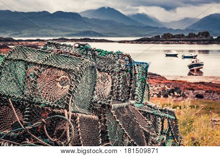 Colored Cage For Lobster On Shore In Summer, Scotland