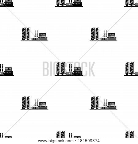 Oil refinery factory icon in black style isolated on white background. Oil industry pattern vector illustration.