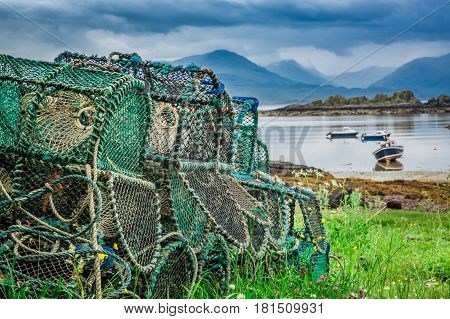 Old Cages For Lobster On Shore, Scotland