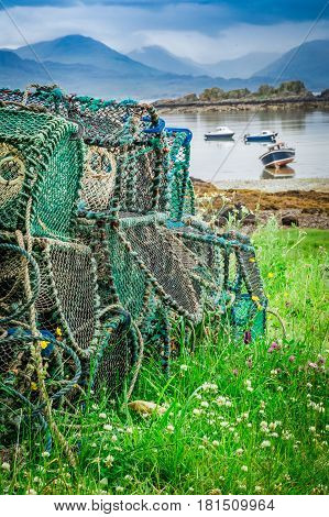Colored Cage For Lobster On Shore, Scotland