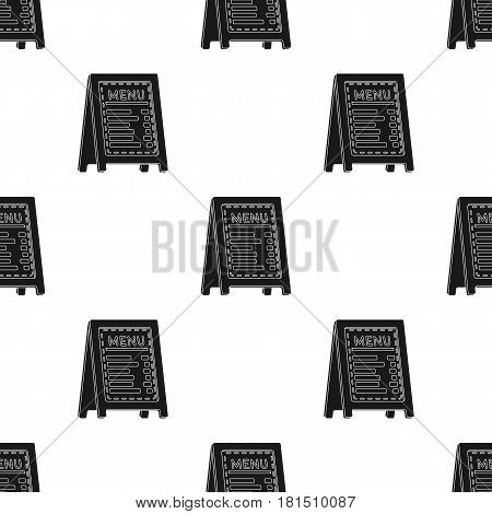 Menu of pizzeria icon in black style isolated on white background. Pizza and pizzeria pattern vector illustration.