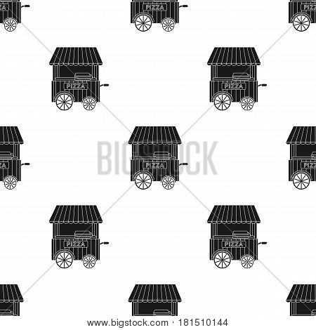 Pizza cart icon in black style isolated on white background. Pizza and pizzeria pattern vector illustration.
