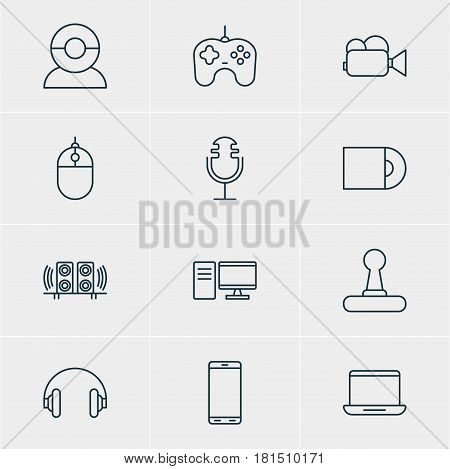 Vector Illustration Of 12 Device Icons. Editable Pack Of Cursor Controller, Smartphone, Joypad And Other Elements.
