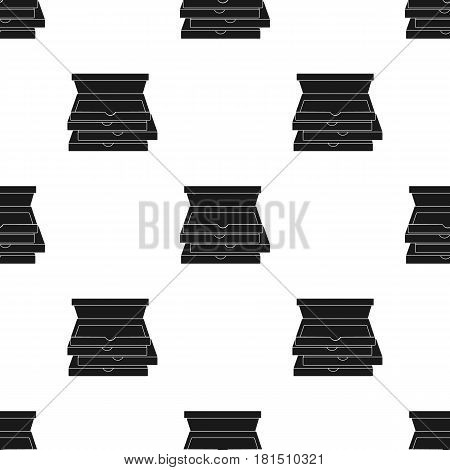 Pizza boxes icon in black style isolated on white background. Pizza and pizzeria pattern vector illustration.