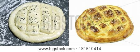Traditional Turkish ramadan pita bread ( unbaked and baked ) on white background