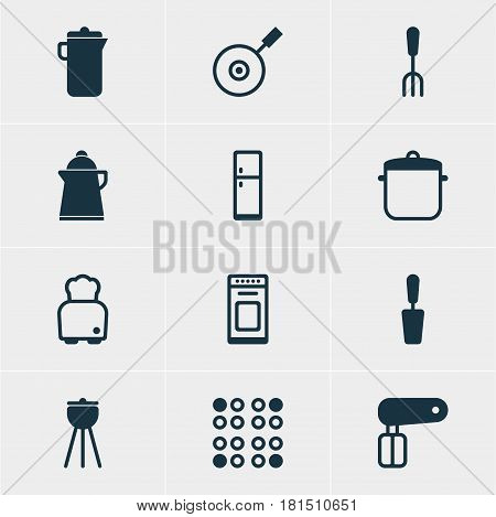 Vector Illustration Of 12 Kitchenware Icons. Editable Pack Of Cooker, Skillet, Oven And Other Elements.