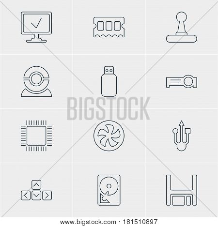 Vector Illustration Of 12 Computer Icons. Editable Pack Of Online Computer, Game Controller, Memory Chip And Other Elements.