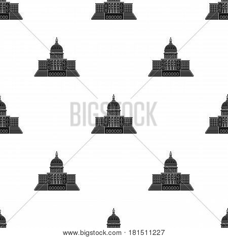 United States Capitol icon in black style isolated on white background. USA country pattern vector illustration.
