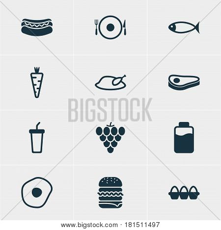 Vector Illustration Of 12 Cooking Icons. Editable Pack Of Seafood, Scrambled Egg, Soft Drink And Other Elements.