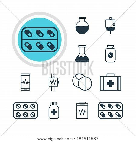Vector Illustration Of 12 Health Icons. Editable Pack Of Medical Bag, Flask, Vial And Other Elements.