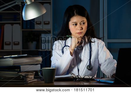 Doctor Over Working Online With A Laptop
