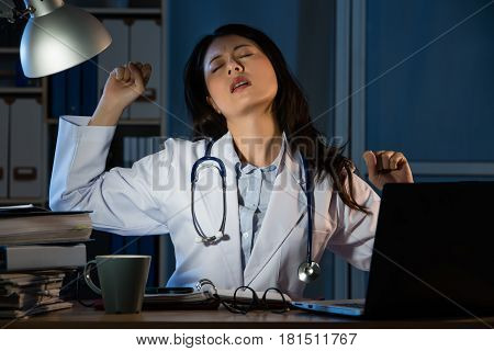 Young Doctor Having Bad Diagnosis And Stretch