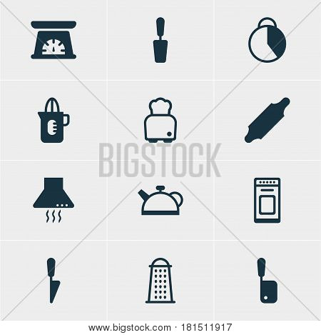 Vector Illustration Of 12 Cooking Icons. Editable Pack Of Bread, Bakery Roller, Kitchen Dagger And Other Elements.