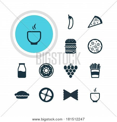 Vector Illustration Of 12 Cuisine Icons. Editable Pack Of Bowl, Flan, Pizzeria And Other Elements.
