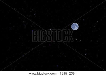 Real time full moon and clouds flowing on night sky background