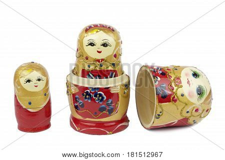 Russian Traditional Dolls Matrioshka - Matryoshka or Babushka on white background .