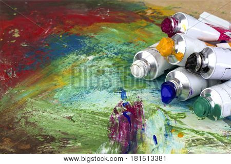 Picture and  paint colors close up image .