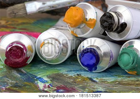 Picture and  paint colors close up image