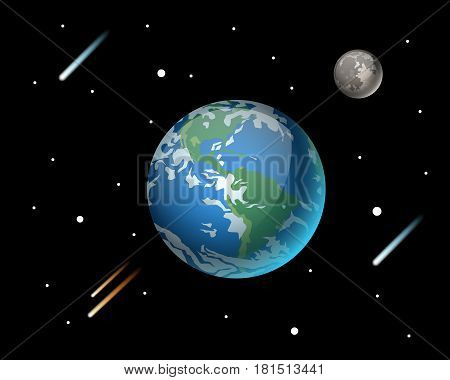 High quality planet galaxy astronomy and earth universe moon science globe cosmos orbit star vector illustration. Astrology planetary world exploration journey scientific surface.