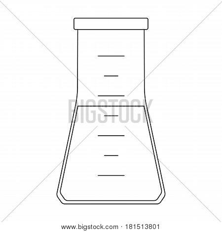 Volumetric flask with liquid.Medicine single icon in black style vector symbol stock illustration .