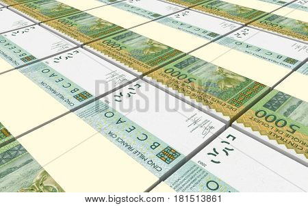 West African CFA francs bills stacked background. 3D illustration.