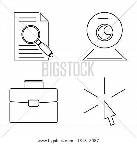 Vector business webinar and online education outline icons concepts illustration internet trainings courses school teamwork. Tutorial science graduation development symbols.