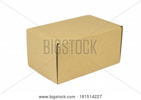 Brown post package isolated on white background.