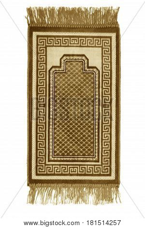 Prayer rug for muslims on white background . poster