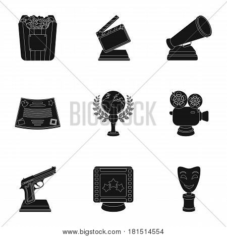 A set of awards for the movie viewings. Gold, silver and bronze awards to the Director, the actor. Moovie awards icon in set collection on black style vector symbol stock web illustration.