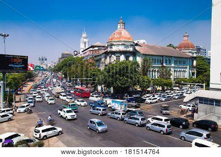 YANGON, MYANMAR-MARCH 3, 2017: Traffic jam in Yangon, Myanmar on March 3, 2017.