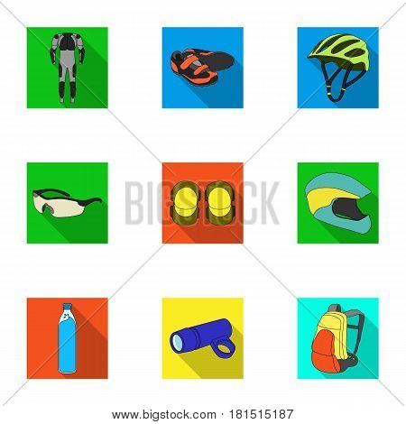 Icons of Cycling, bike. Set for bike, backpack protection, repair, form. Cyclist outfit icon in set collection on flat style vector symbol stock web illustration.