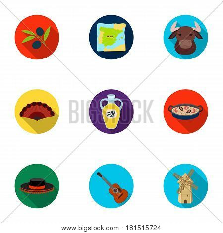 A set of pictures about Spain. Sights of Spain, gypsies, guitar, dances.Spain country icon in set collection on flat style vector symbol stock web illustration.
