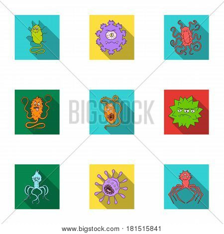 A set of pictures about bacteria and viruses. Germs that are harmful to humans. viruses and bacteria icon in set collection on flat style vector symbol stock web illustration.