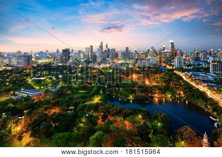 Lumpini park The lungs of Bangkok city Thailand