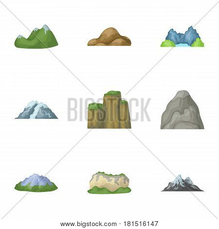 Set of icons about different mountains. Winter, summer mountains in one collection.Different mountains icon in set collection on cartoon style vector symbol stock web illustration.