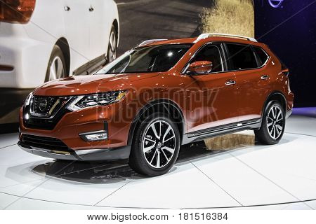 NEW YORK-APRIL 12: Nissan Rogue shown at the New York International Auto Show 2017, at the Jacob Javits Center. This was Press Preview Day One of NYIAS, on April 12, 2017  in New York City