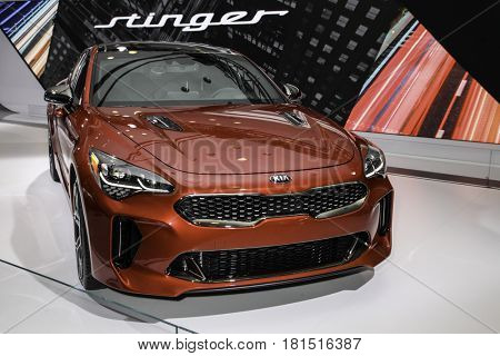 NEW YORK - APRIL 12: Kia Stinger shown at the New York International Auto Show 2017, at the Jacob Javits Center. This was Press Preview Day One of NYIAS, on April 12, 2017  in New York City.