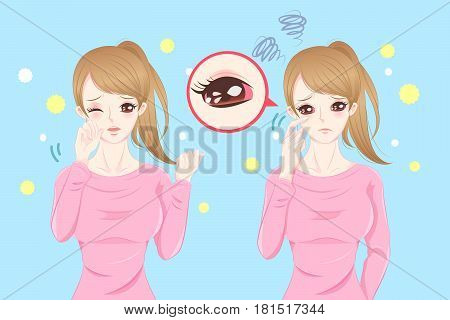 cute cartoon feel eye pain with hay fever on blue background