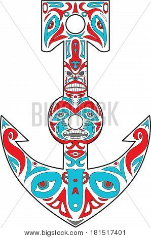 Northwest Coast art style illustration of a boat anchor totem pole set on isolated white background.