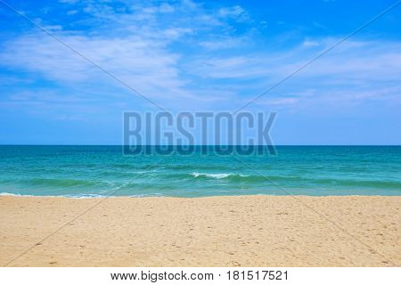 Sea beach on sunny day travel background.