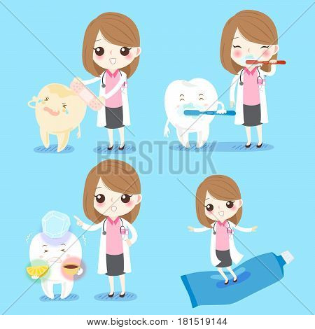 cute cartoon woman dentist with sensitive tooth