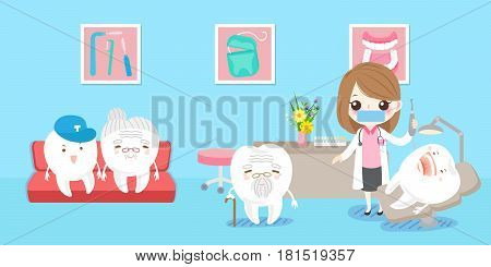cute cartoon woman dentist with tooth healthy concept