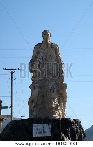 VAU I DEJES, ALBANIA - SEPTEMBER 30: Mother Teresa monument in front of Mother Teresa cathedral in Vau i Dejes, Albania on September 30, 2016.