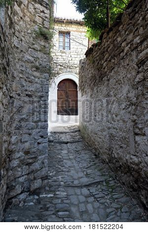 BERAT, ALBANIA - OCTOBER 01, 2016: Traditional ottoman house in old town Berat known as the White City of Albania on October 01, 2016.