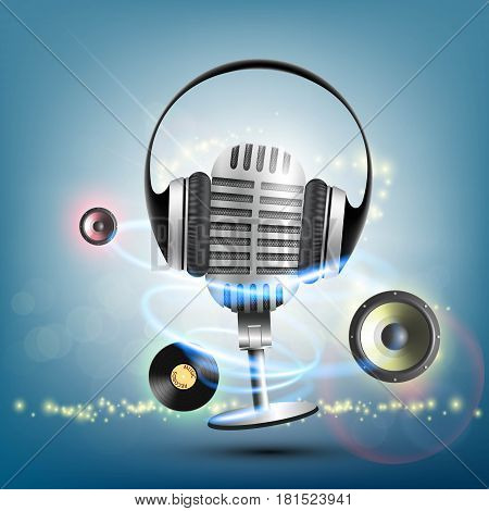 Headphones and a retro microphone. Vinyl record music background. Stock vector illustration.