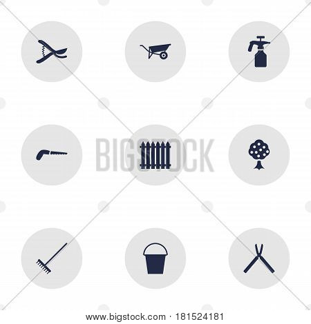 Set Of 9 Horticulture Icons Set.Collection Of Hacksaw, Rake, Scissors And Other Elements.