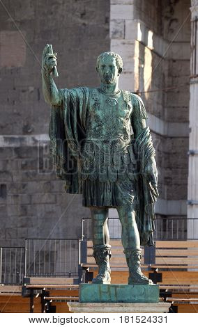 ROME, ITALY - SEPTEMBER 04: Bronze statue of Nerva in the Forum Romanum, Rome, Italy  on September 04, 2016.