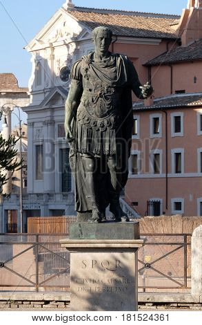 ROME, ITALY - SEPTEMBER 04: Bronze statue of Emperor Julius Caesar, Via dei Fori Imperiali, Rome, Italy  on September 04, 2016.
