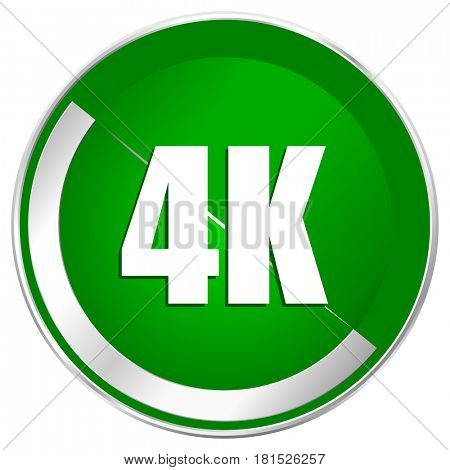 4k silver metallic border green web icon for mobile apps and internet.